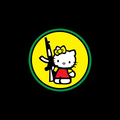 JDM Hello Kitty with Gun mad Vinyl Decal Sticker Japanese