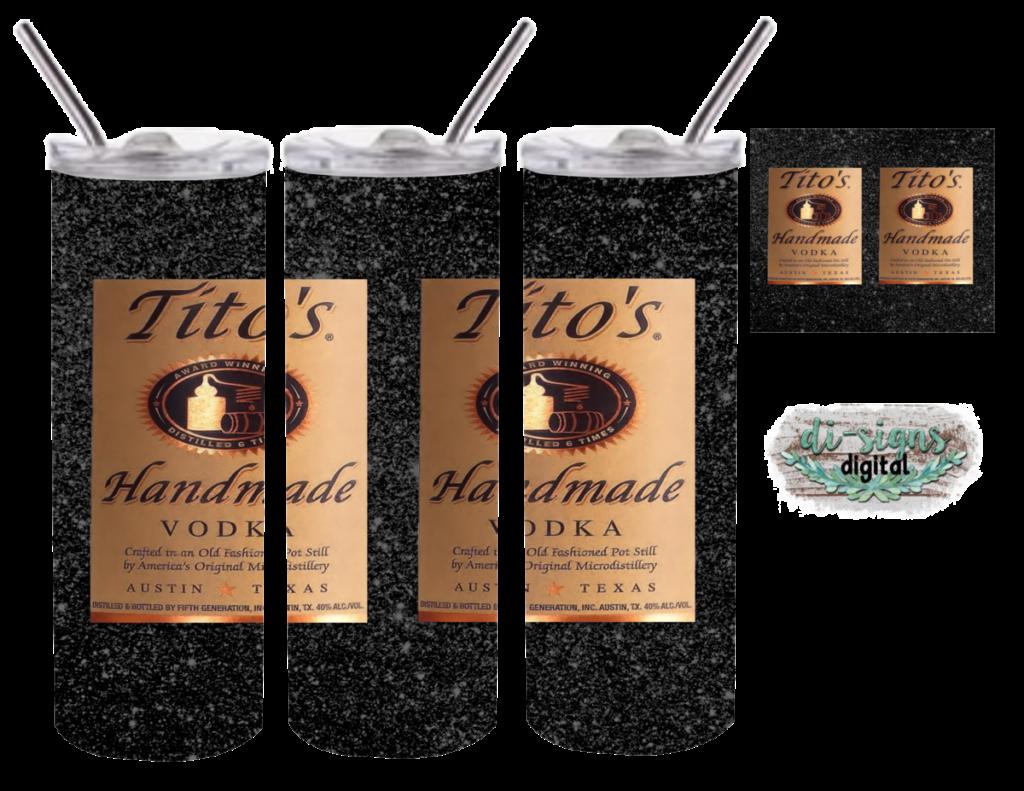 Ti to s black glitter digital image for skinny tumblers