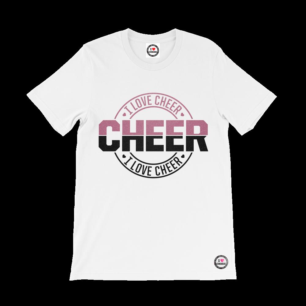 White Rose GoldBlack I Love Cheer Glitter TShirt  I