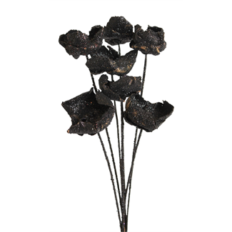 Palm Caps 7 stem Black Glitter  Black glitter Glitter