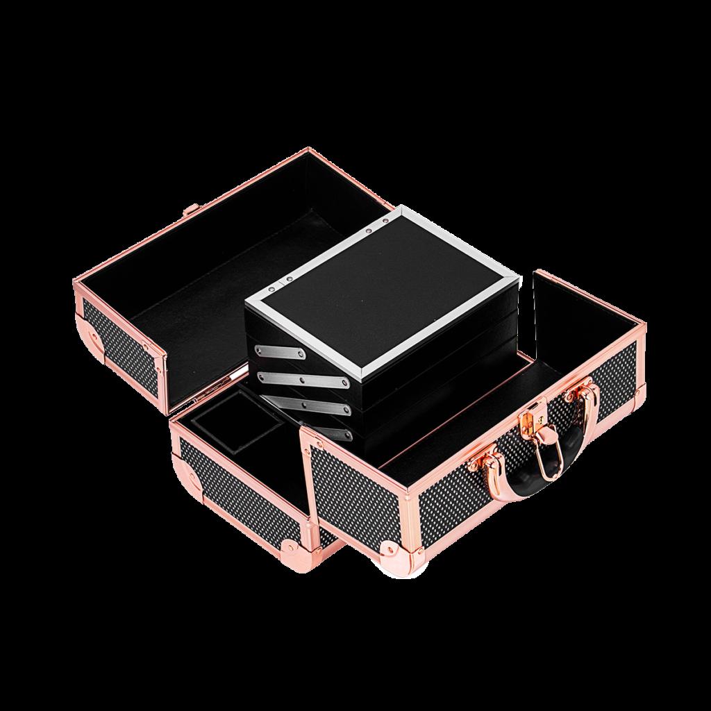 Професионален куфар за грим с огледало LUX Black Rose Glitter