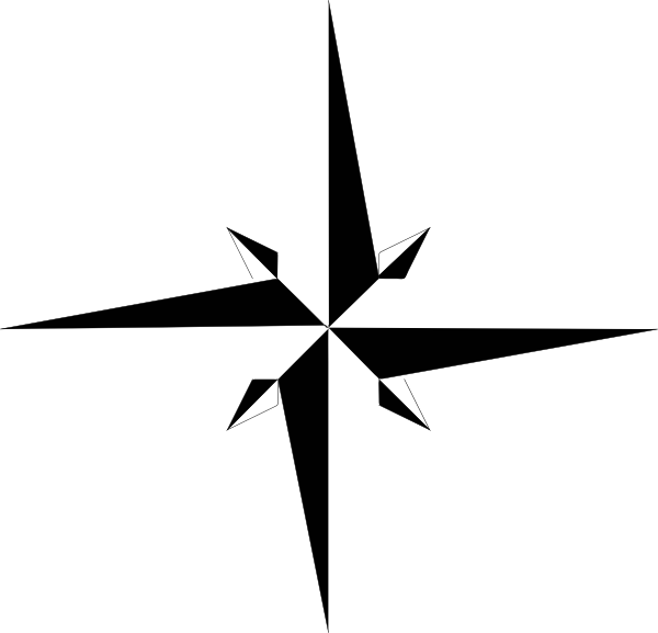 Black And White Compass Rose No White Clip Art at Clker