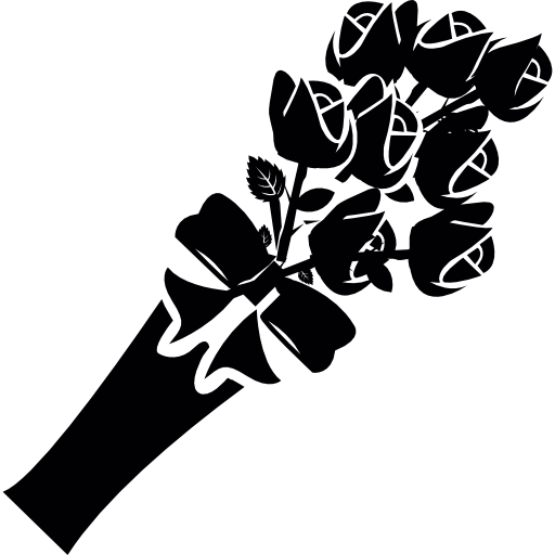 Rose Bouquet Png Black And White  Free Rose Bouquet Black
