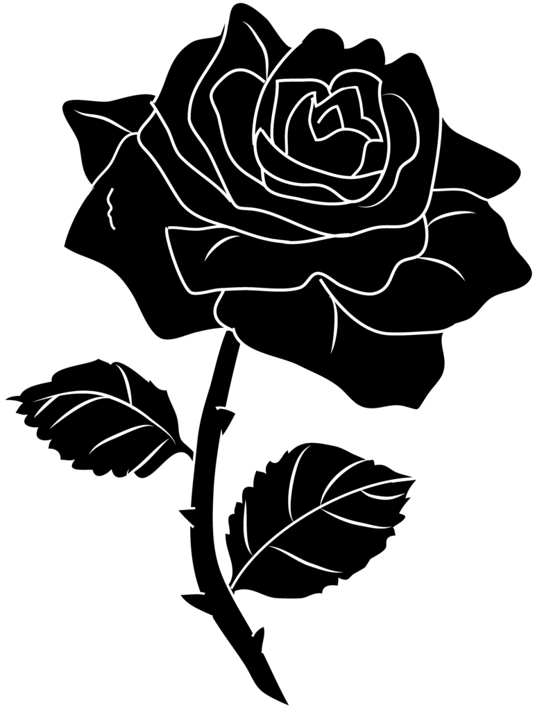 Black Rose Silhouette Clip Art  Free Clip Art