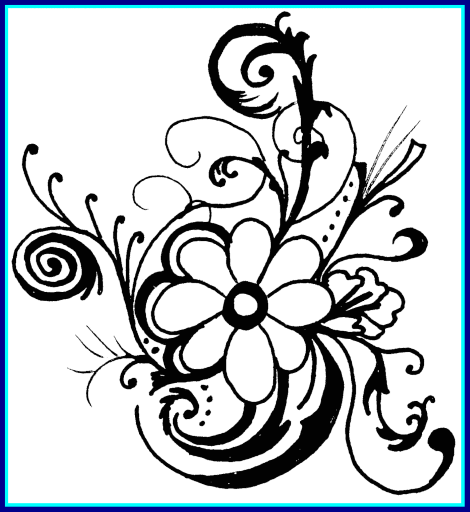 Rose Flower Black And White Drawing  Free download on