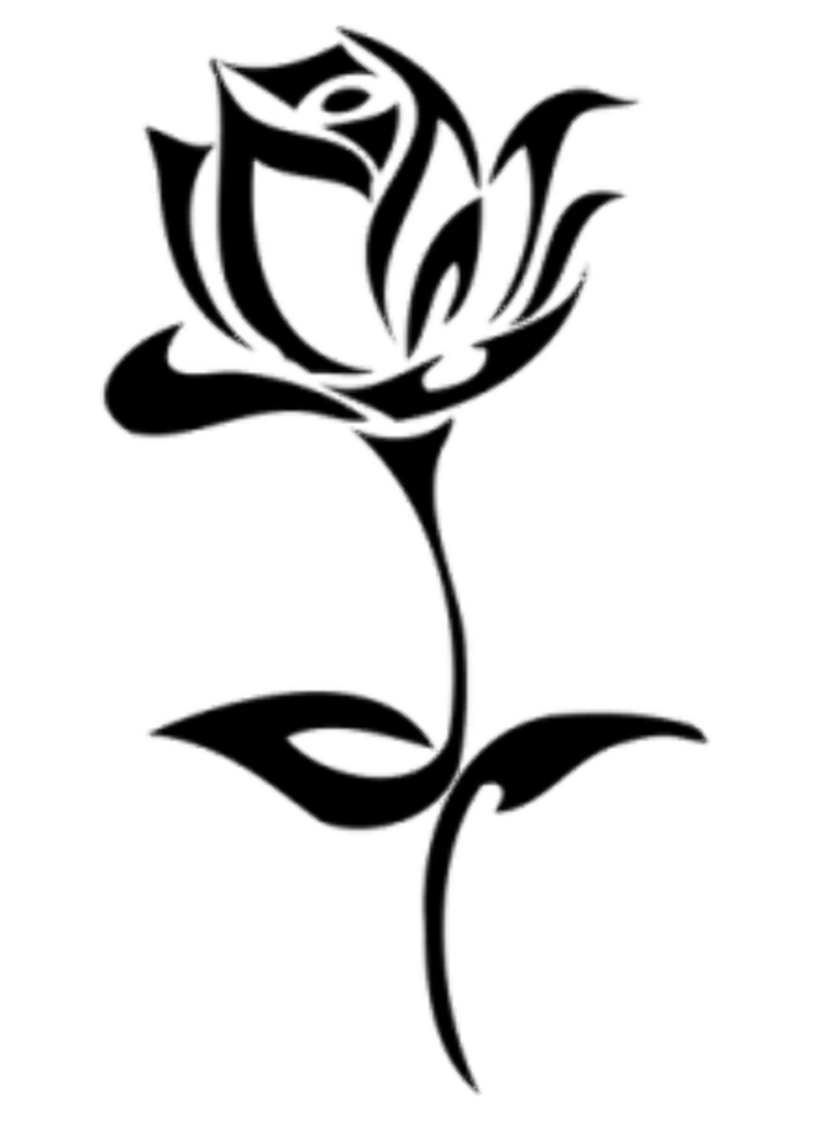 Download High Quality rose clipart black and white stencil