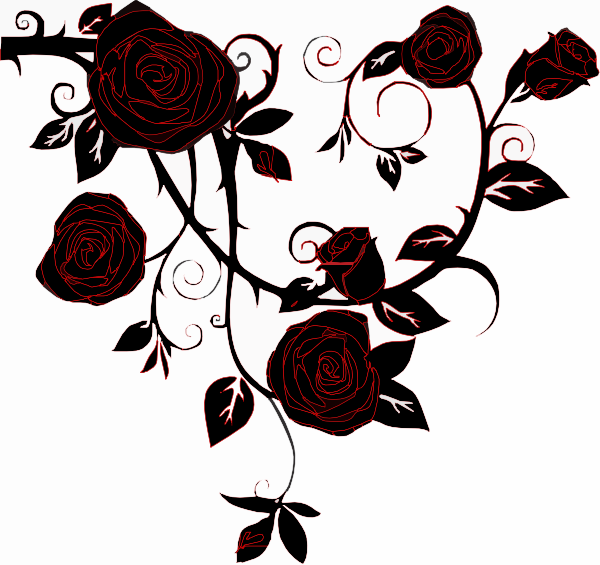 Negative Black Rose Clip Art at Clker.com - vector clip ... - Black and White Rose Design