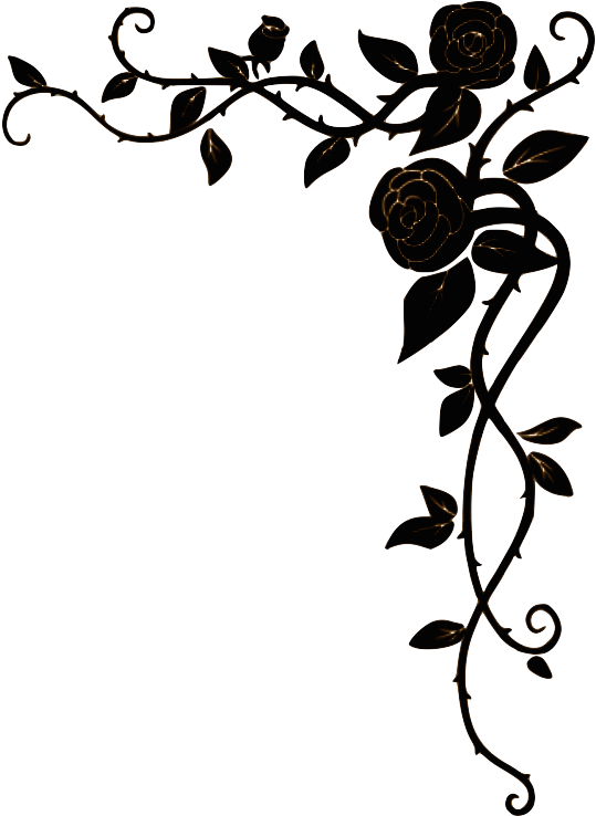 Right Top Border  Roses Border Design Black And White Png