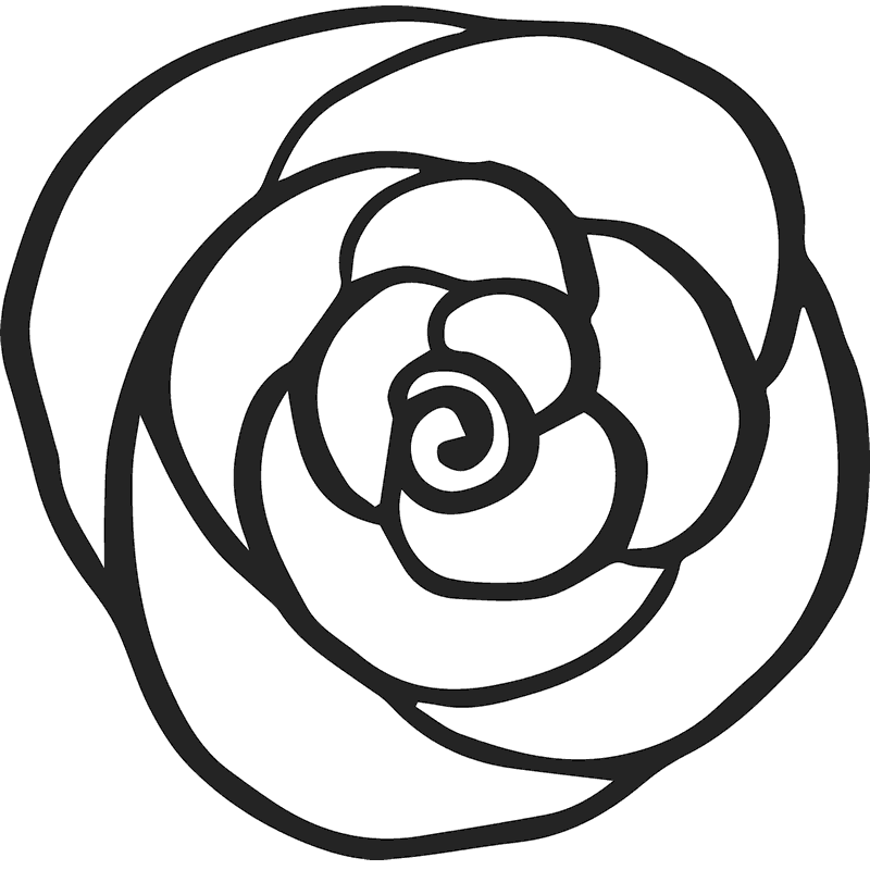 Rose Outline Rubber Stamp  Flower  Leaf Stamps  Stamptopia