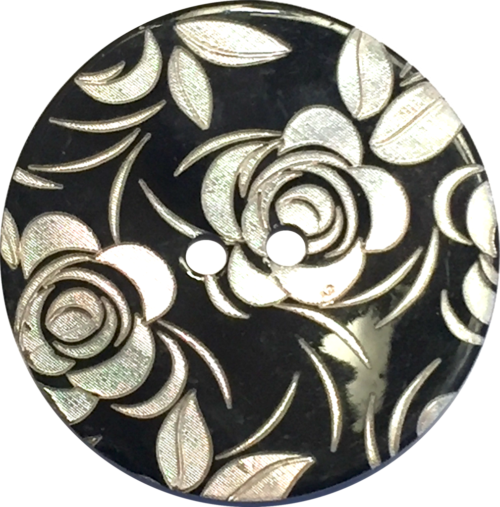White Roses Etched on Black Shell Button, 3 sizes | White ... - Black and White Rose Design