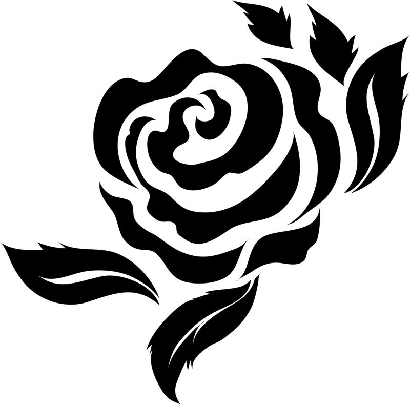 Bold Rose with Leaves Rubber Stamp  Flower  Leaf Stamps