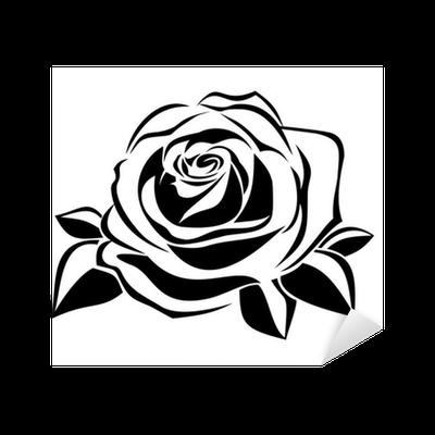 Black silhouette of rose Vector illustration Sticker