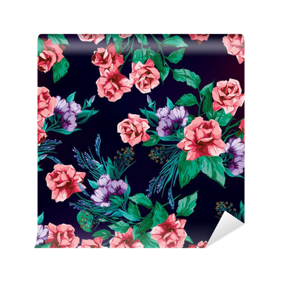 Seamless vector floral pattern with roses on black