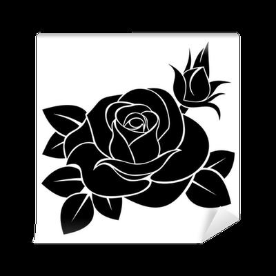 Black silhouette of rose Vector illustration Wall Mural
