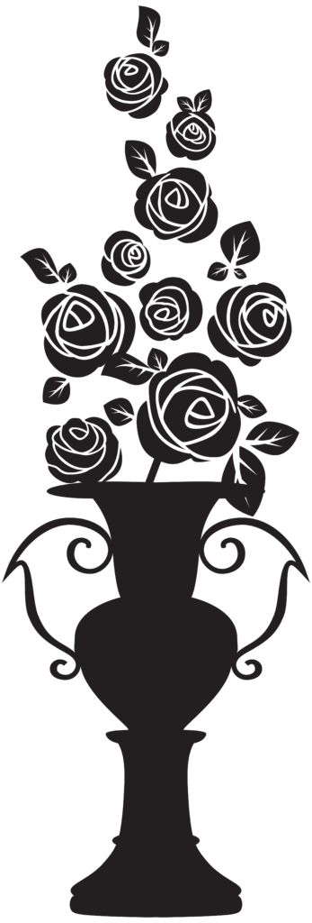 Silhouette Drawing Clip art  Vase with Roses Silhouette
