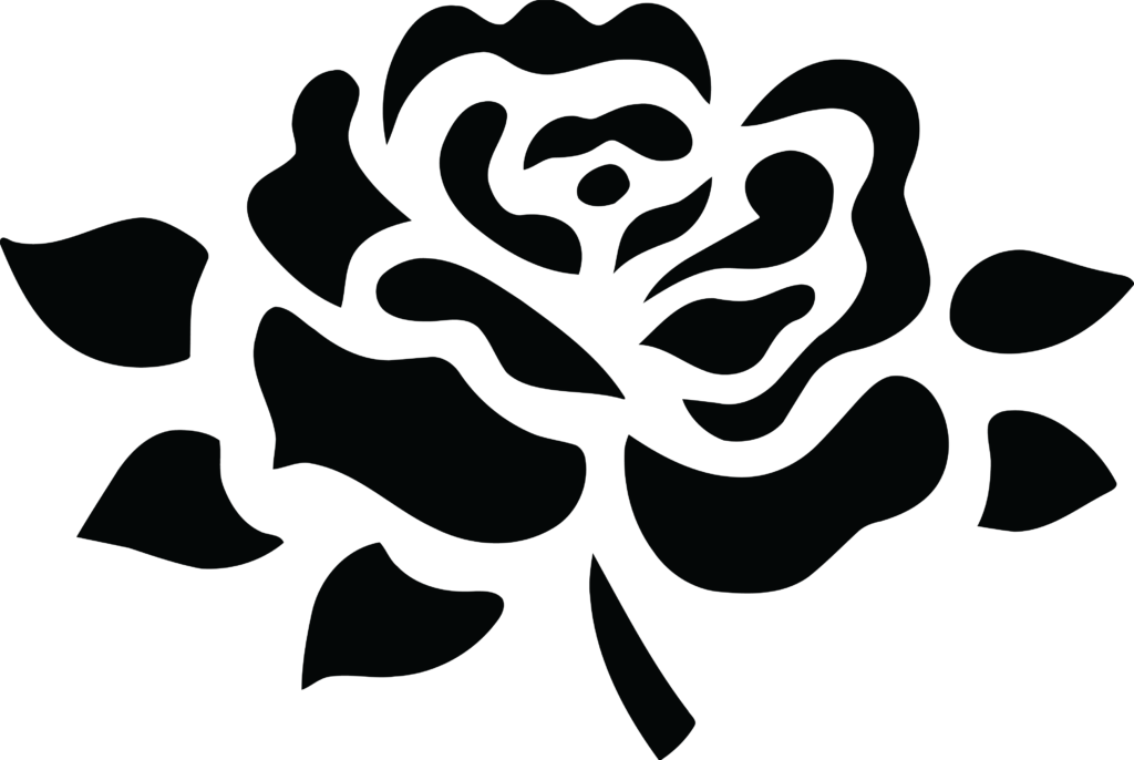 Free Clipart Of A black and white fully bloomed rose