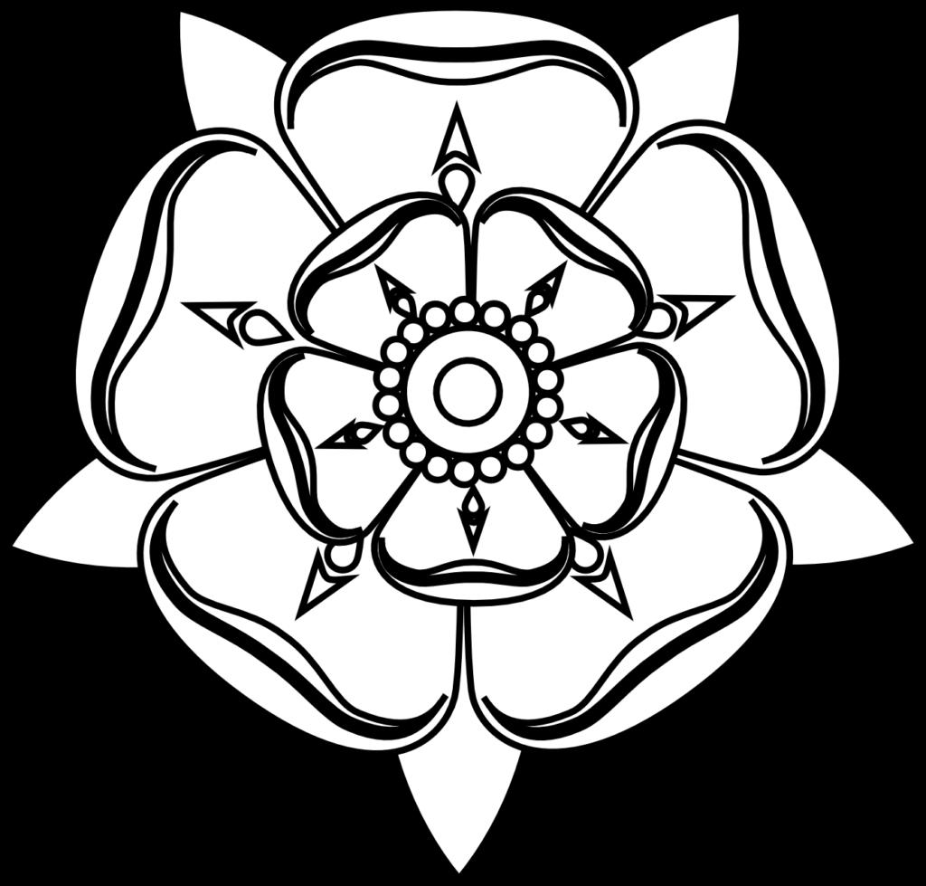 Clipartist Tudor Rose Black White Line Art Tattoo Tatoo