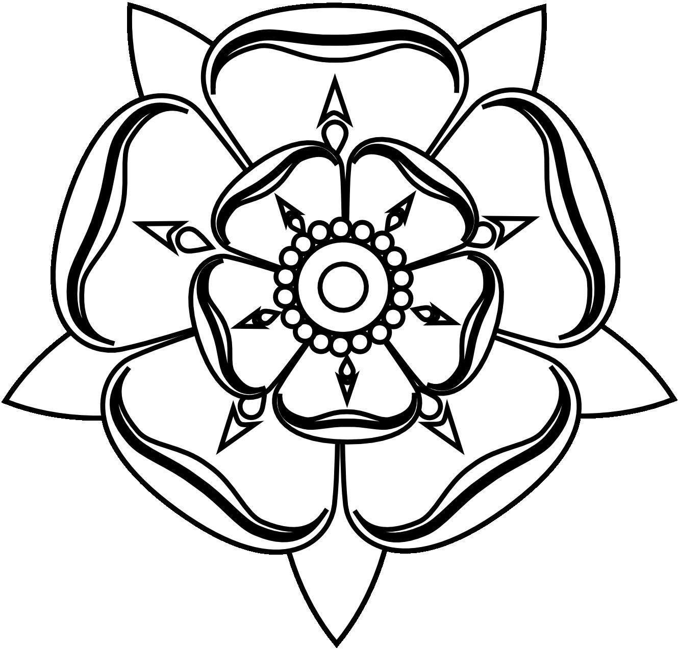 Clipartist Tudor Rose Black White Line Art Tattoo Tatoo ... - Black and White Rose Tattoos