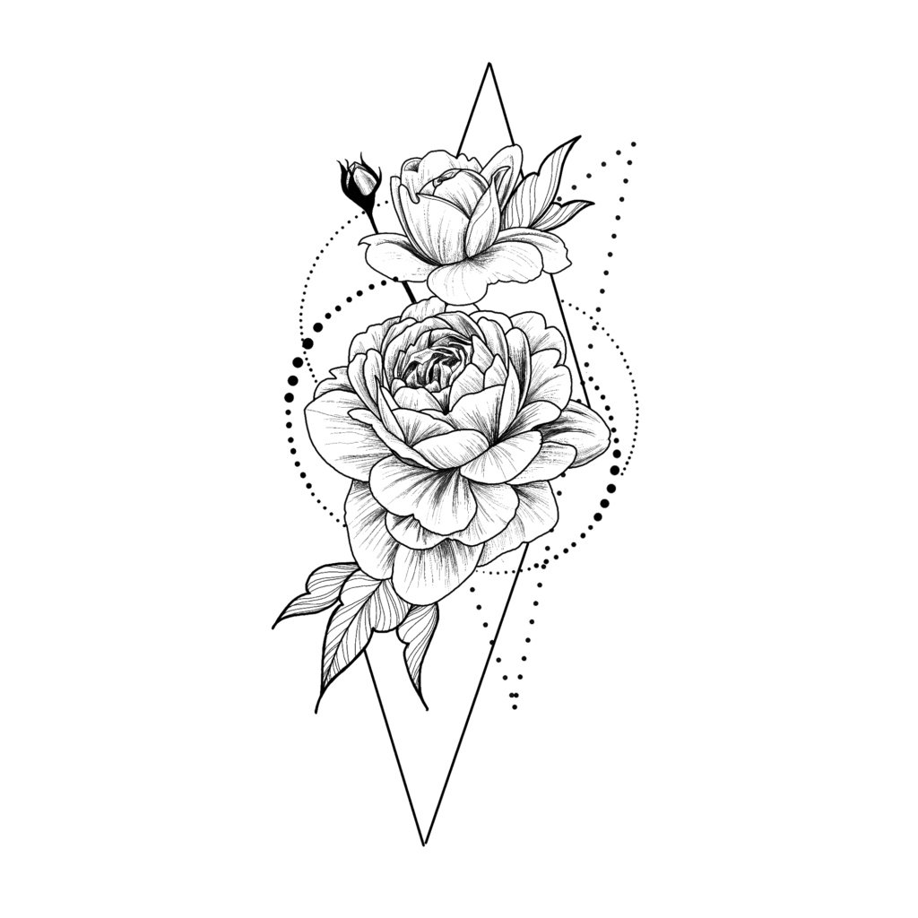 Temporary tattoo  Roses in geometry Black and White