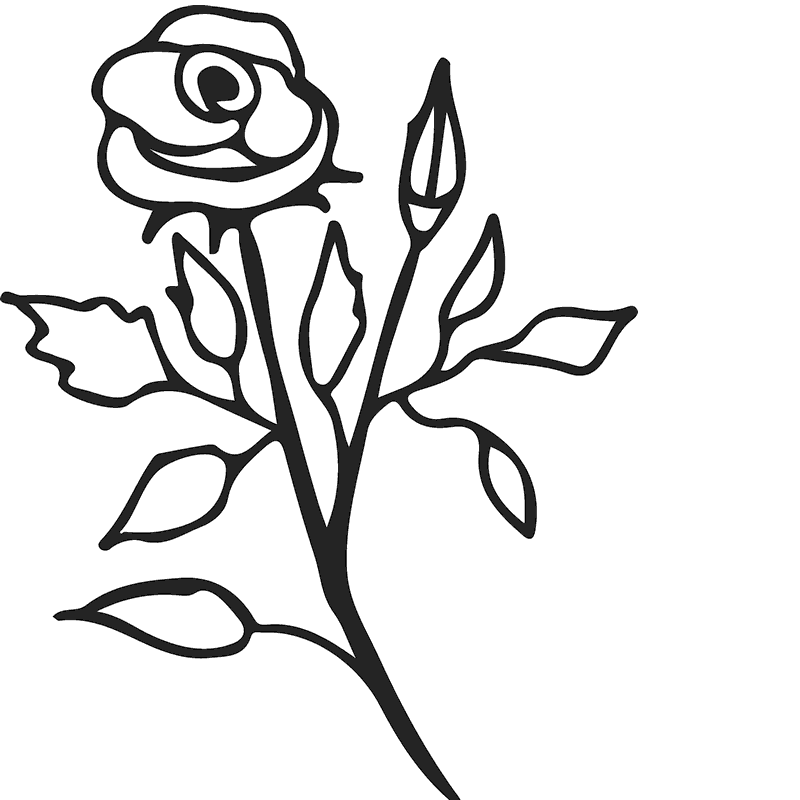 Rose And Stem Drawing  Free download on ClipArtMag