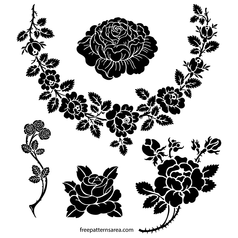 Rose Silhouette Vector Stencil Art Designs  FreePatternsArea