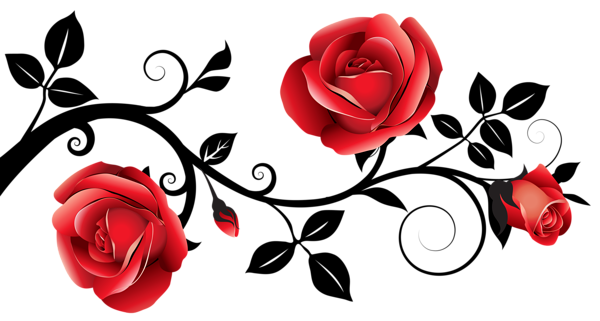 Red and Black Decorative Roses PNG Clipart Image
