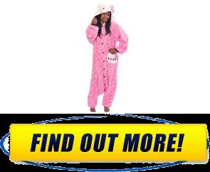 Hello Kitty Zebra Pink Kigurumi Adult Halloween Costume