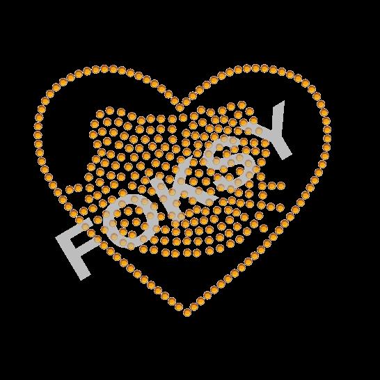 cartoon Hello Kitty hot fix rhinestone heart iron on