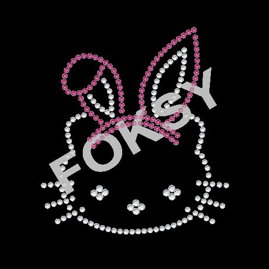 Hello Kitty rhinestone rabbit hair hoop iron on motif