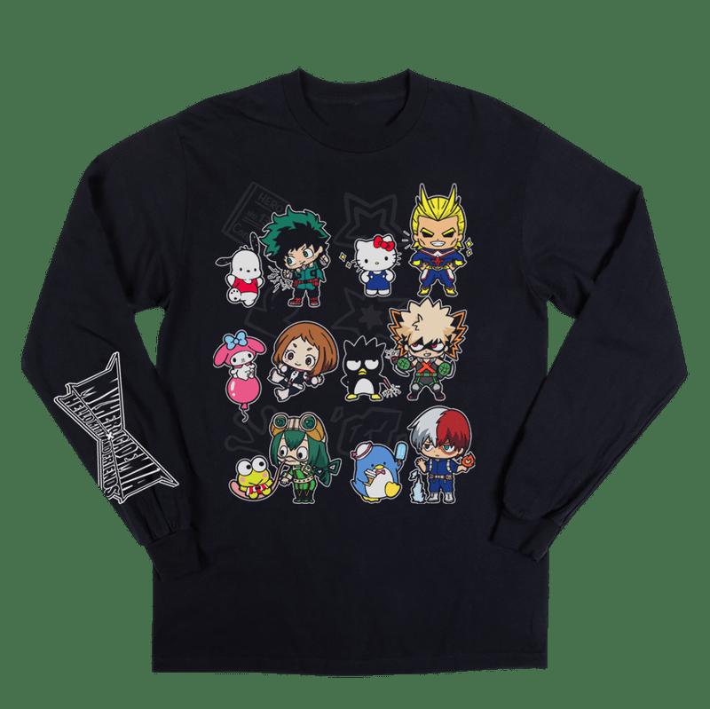 Hello Kitty  My Hero Academia Anime Cartoons Mens Black Shirt
