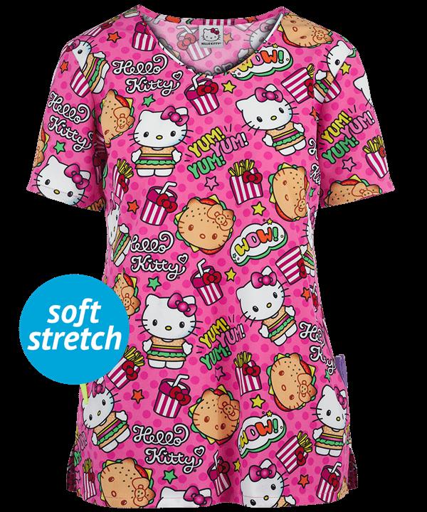 Cherokee Tooniforms Hello Kitty Kawaii Burger Scrub Top