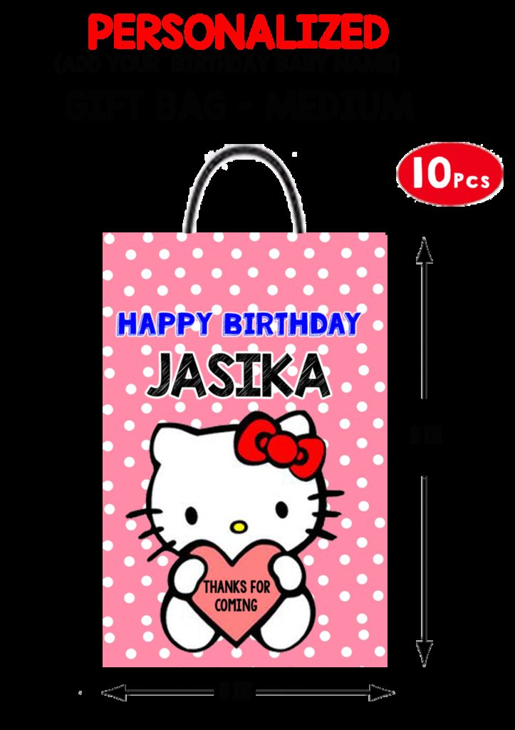Personalized Hello Kitty Birthday Gift Bag  Medium 10 Pcs