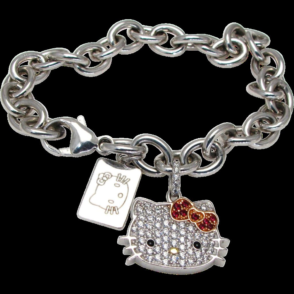 Sterling Silver Hello Kitty Bracelet with Cubic Zirconia