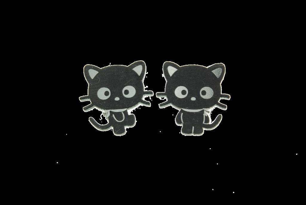 Chococat Body Earrings in Twotone SilverBlack  Hello