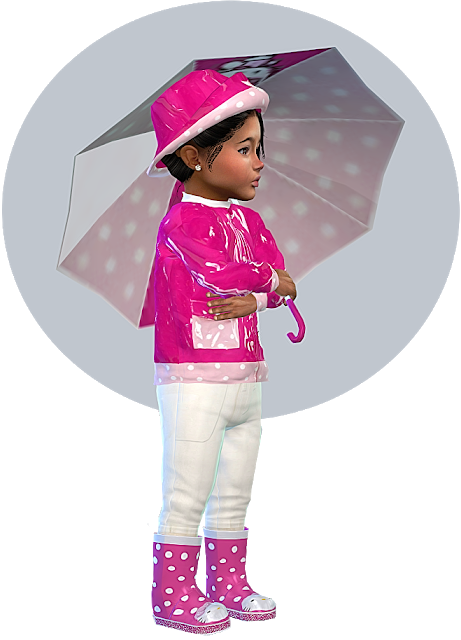 Hello Kitty Rain Outfit for little Toddler Girls   Sims