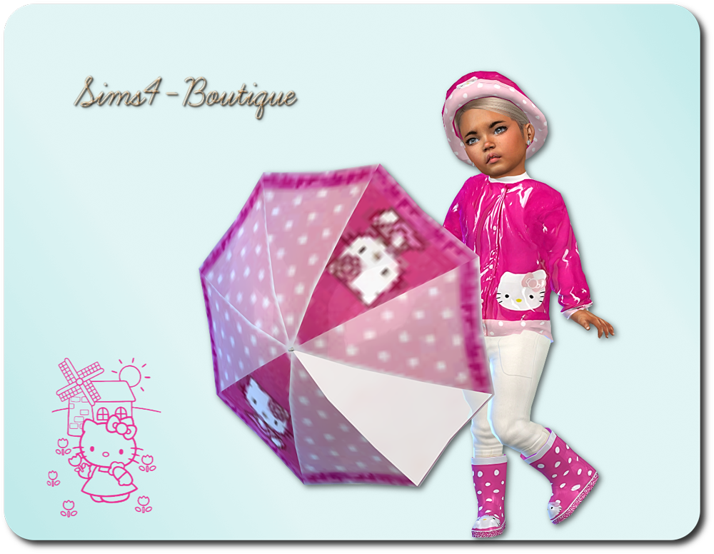 Sims4Boutique   Hello Kitty Rain Set for Toddler Girls