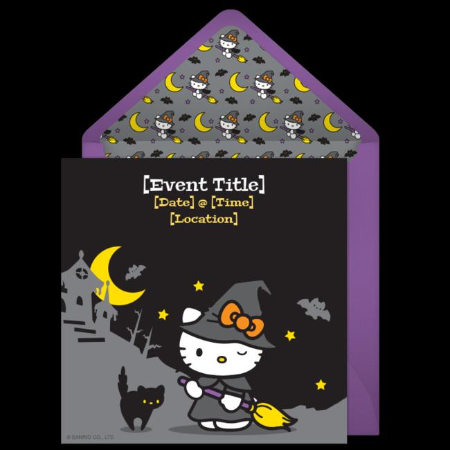 Free Hello Kitty Witch Invitations  Hello kitty