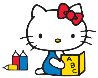 Hello Kitty Reading  Clipartsco