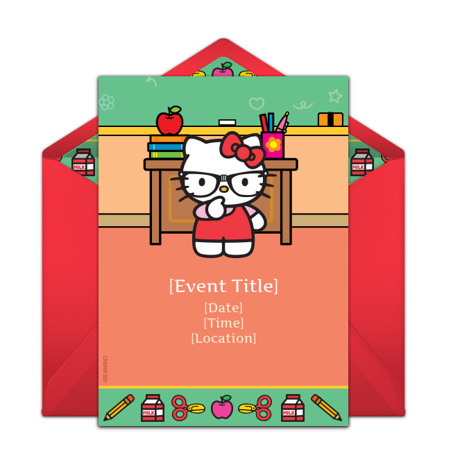 Free Hello Kitty Nerd Invitations  Back to school party
