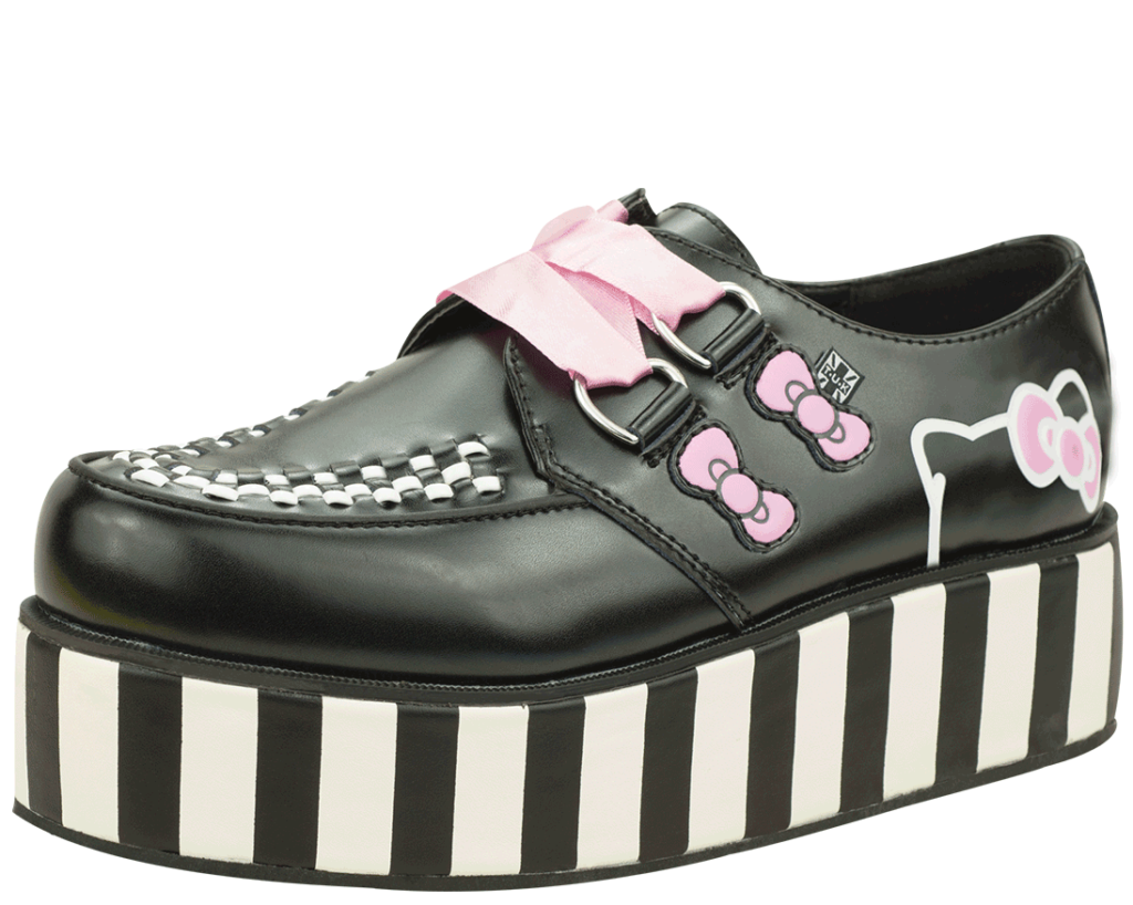 A8887 PINK RIBBON HELLO KITTY BOW CREEPERS  TUKSHOES