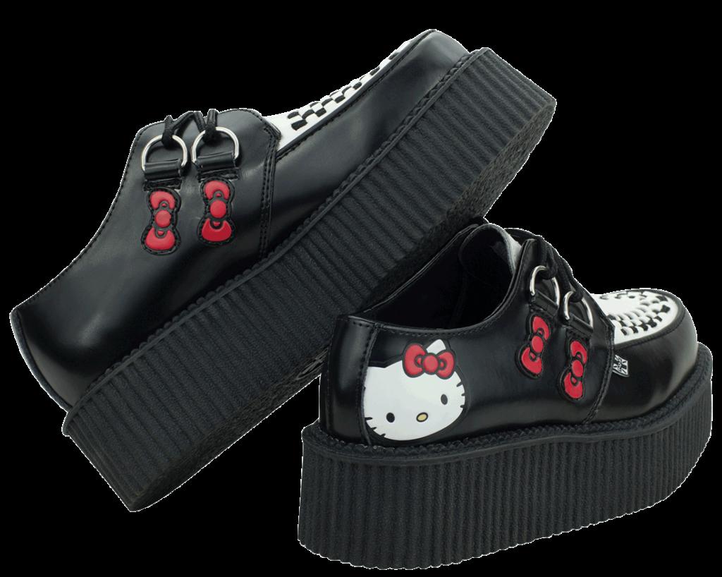 Hello Kitty Black  White Mondo Creepers  TUK Shoes