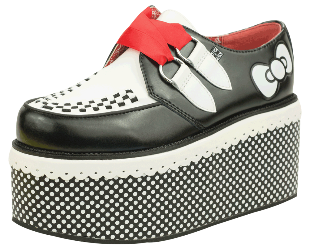 A8885 BLACK AND WHITE RED RIBBON HELLO KITTY CREEPERS