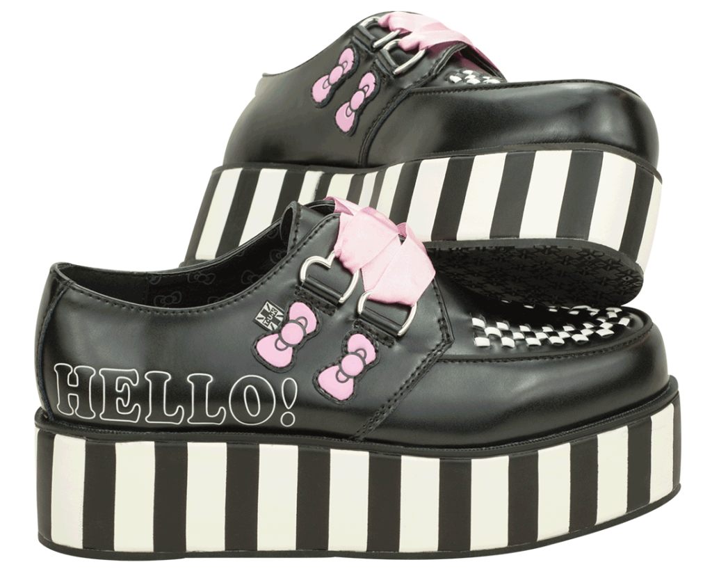Black Leather wigh pink accents Hello Kitty creepers  TU