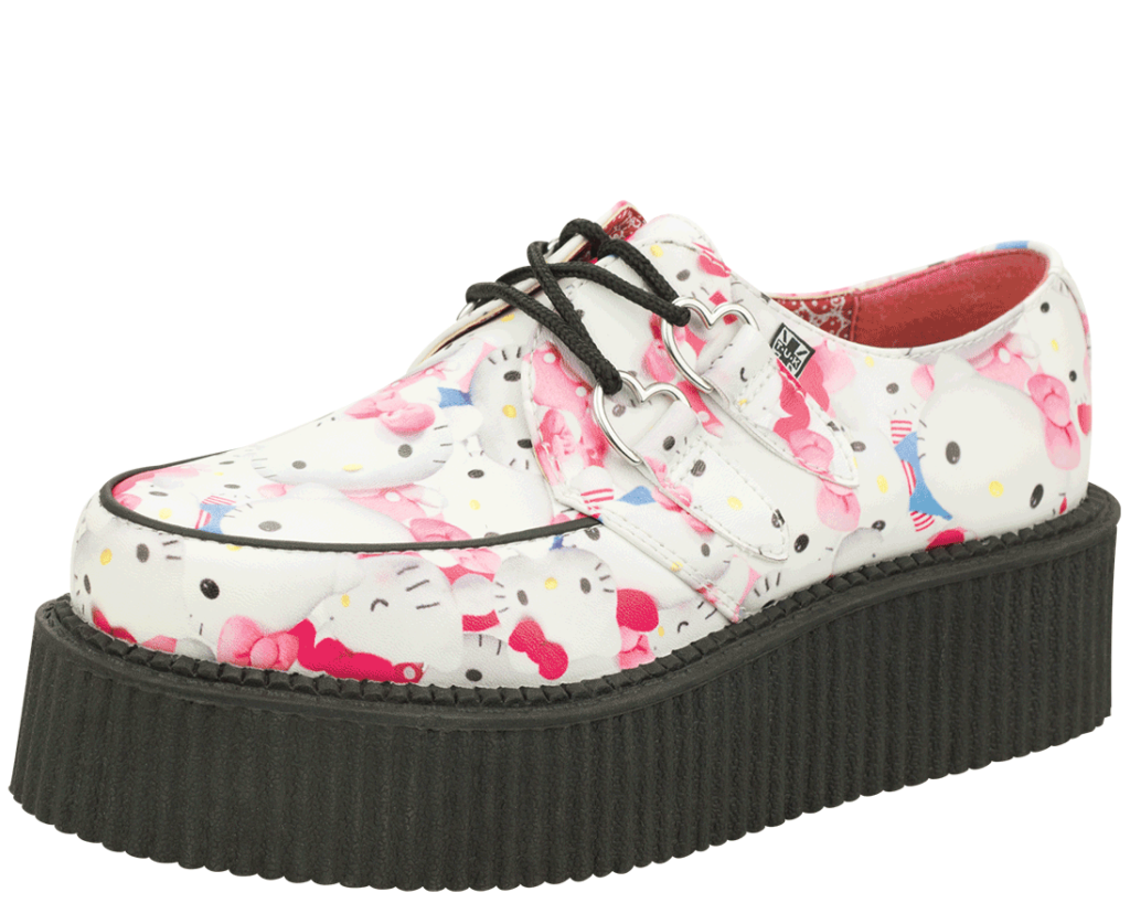 White Faux leather with Hello Kitty Print Vegan Creeper on