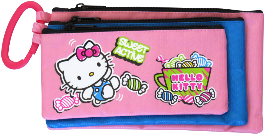 Hello Kitty 3 Compartment Pencil Bag Assorted Designs