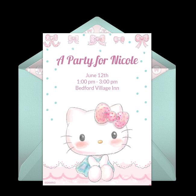 Free Hello Kitty Baby Pastel Invitations  Hello kitty
