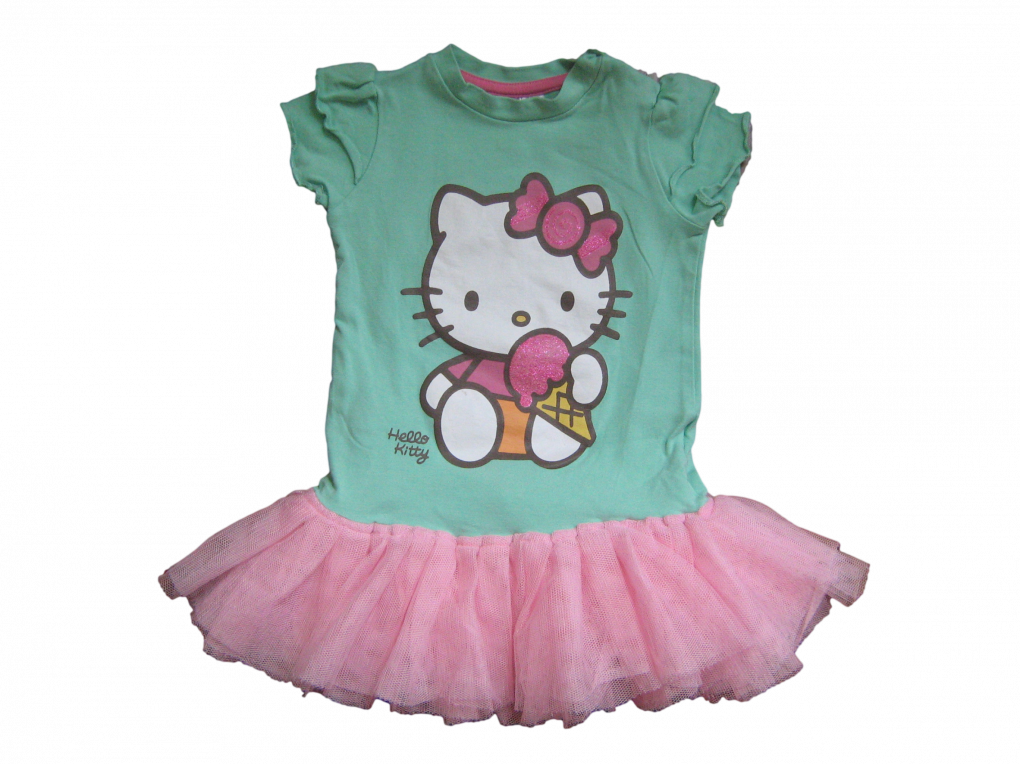 Maat 68 Jurk Mint met roze tule en Hello Kitty opdruk Merk