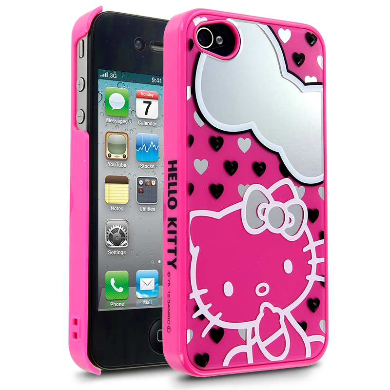 Hello Kitty Mirror Heart Case for Apple iPhone 44S  Pink