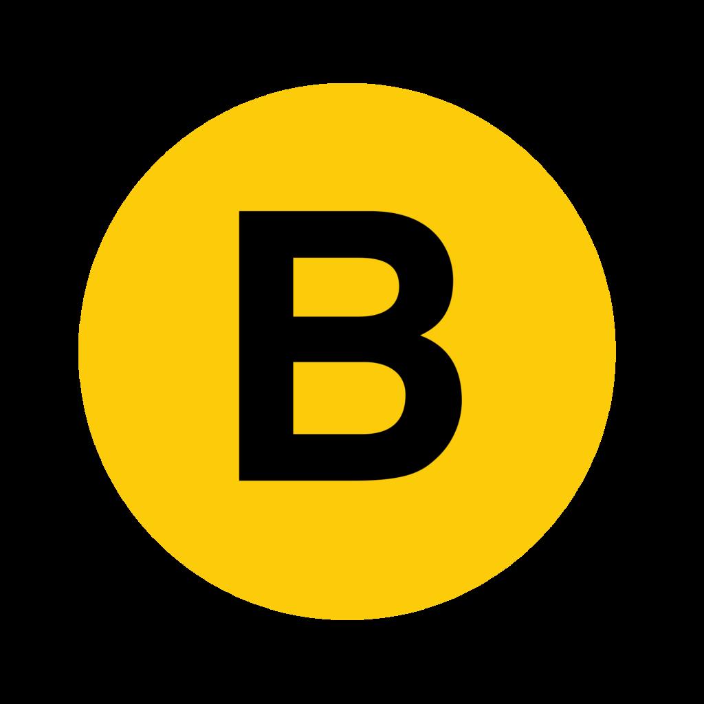 Yellow B Logo  LogoDix