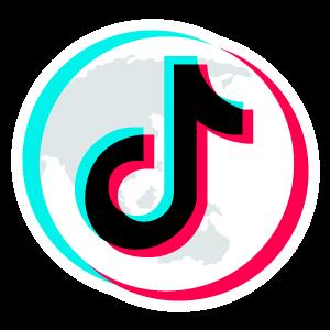 TikTok Logo on top of Planet Sticker  Snapchat logo